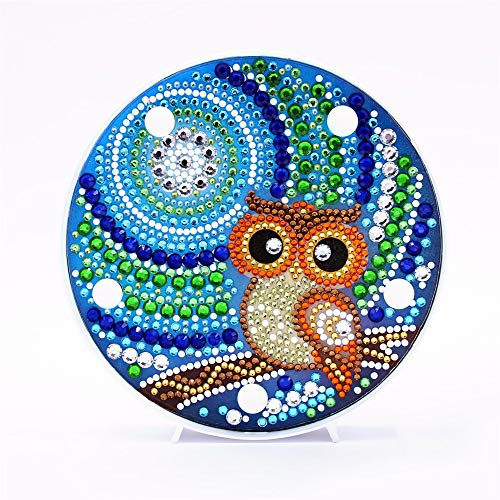 Owl Diamond Painting with LED Light DIY Handmade Artwork 5D Full Drill Crystal Drawing Kit Bedside Lamp Arts Craft for Home Decoration or Gifts-5.9 X 5.9