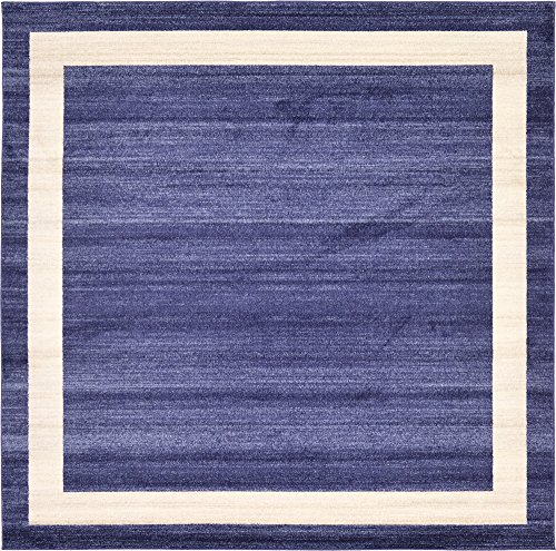 Navy Square - Unique Loom Del Mar Collection Contemporary Transitional Navy Blue Square Rug (8' 0 x 8' 0)
