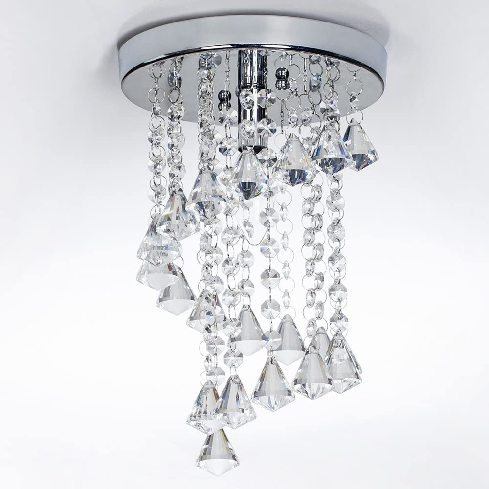 SOTTAE 8 Mini Flush Mount Crystal Ceiling Light Fixture Modern Style 1 Light Living Room Dining Room Bedroom Hallway Chandelier,Small Chrome Finish Ceiling Light