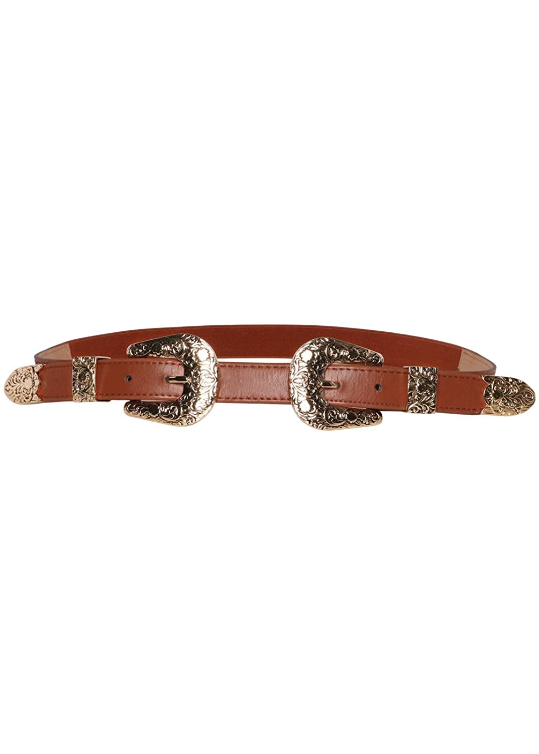 Wink Gal Women's Western Metal Leather Deluxe Double Buckle Belt Elastic Thin Band