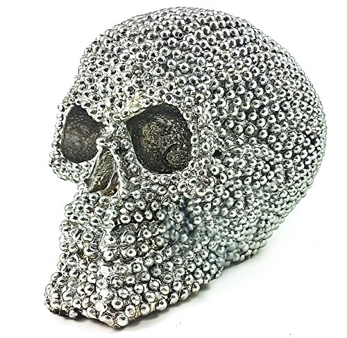 Realistic Replica Human Skull Statue with Silver Stone Sculpture Figure Skeleton Limited