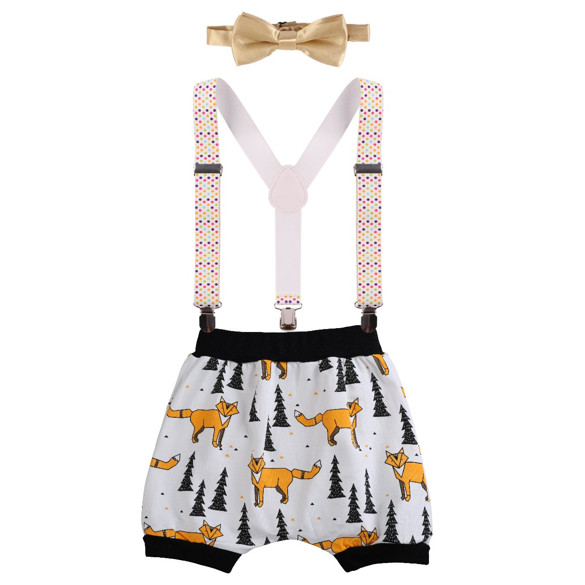 FYMNSI Baby Boys Birthday Cake Smash Bloomer Pants Y Back Suspender Bowtie Outfits