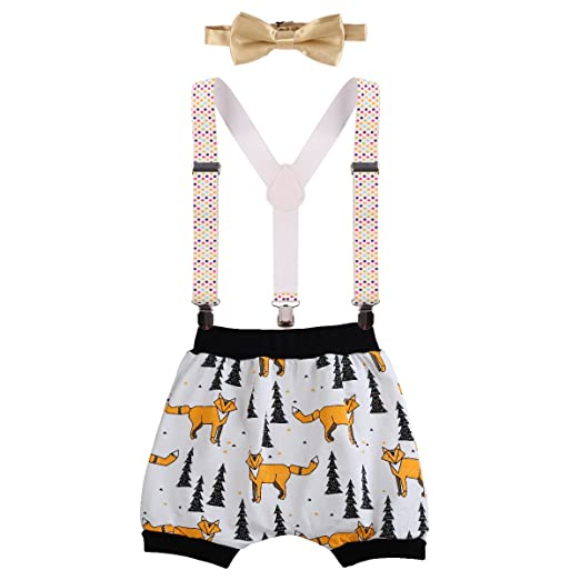 c98d1545 Baby Boys Cake Smash Outfit First Birthday Bloomers Bowtie Adjustable Y  Back Suspenders Clothes set #