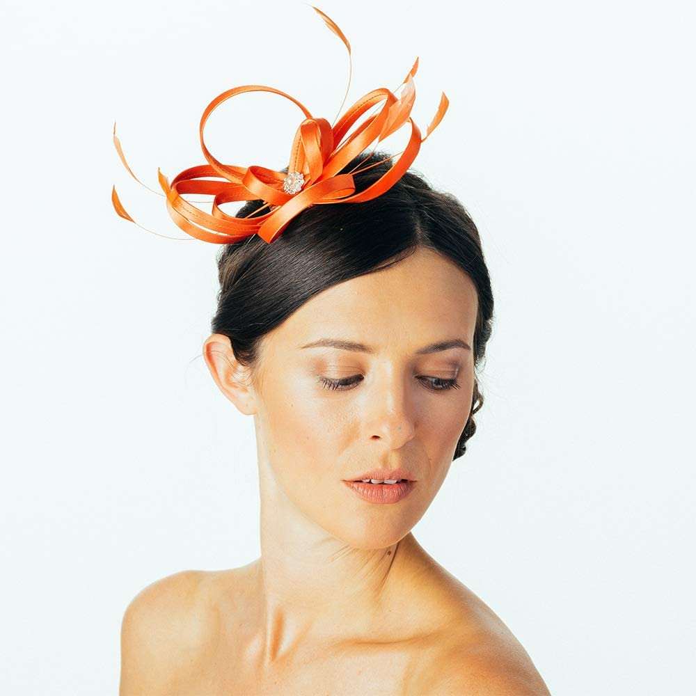 Orange Failsworth Hats Satin Fascinator