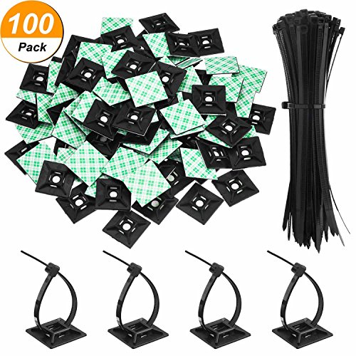 Hicarer 100 Pack Black Zip Tie Adhesive Mounts Self Adhesive Cable Tie Base Holders with Black Multi-Purpose Cable Tie (Length 200 mm, Width 2.8 cm)