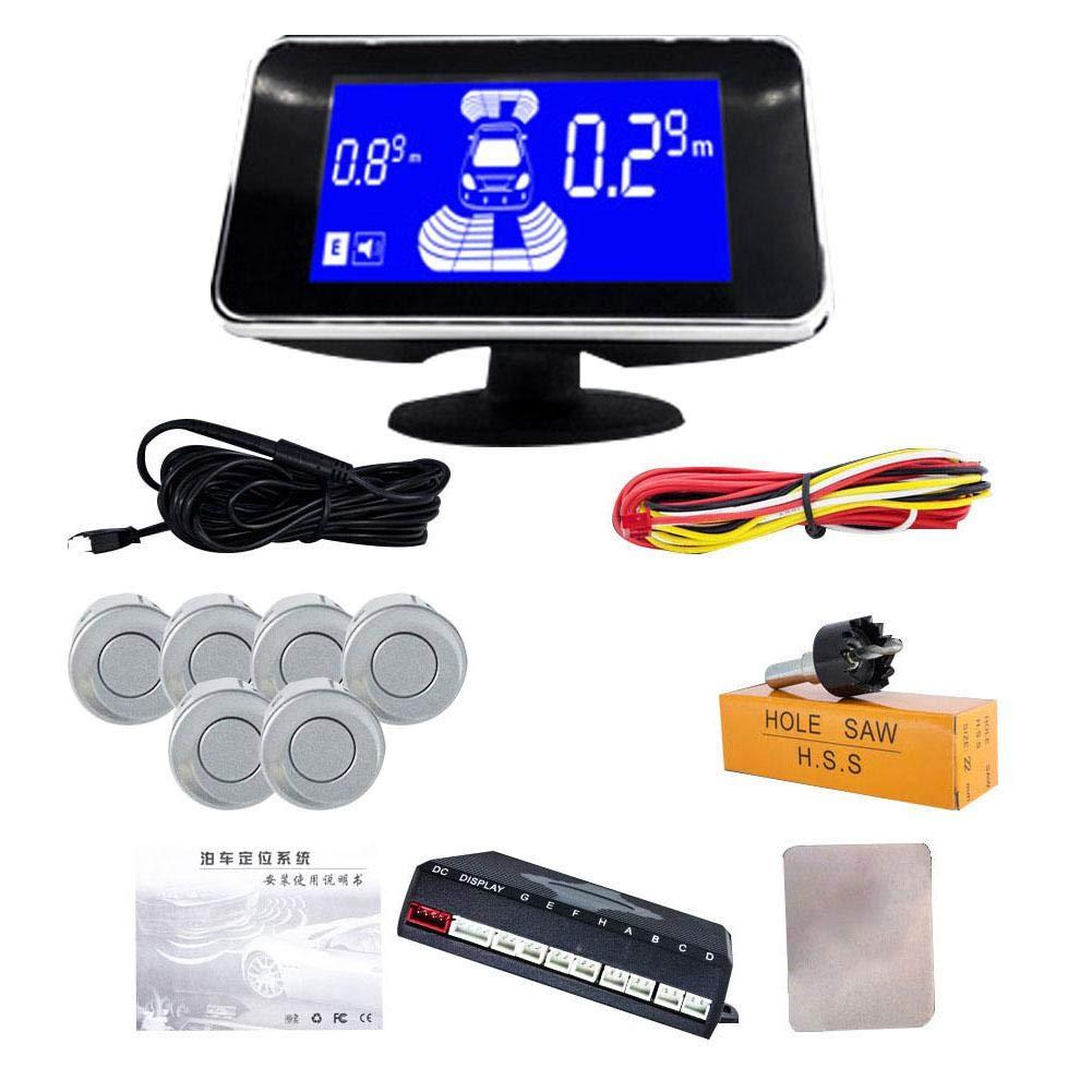 Househome Kit del Sensor de Aparcamiento del autom/óvil Sistema de Radar de Respaldo inverso Sensores 4//6//8 Pantalla LED Zumbador Kit del Sensor de Aparcamiento del Coche de 22 mm