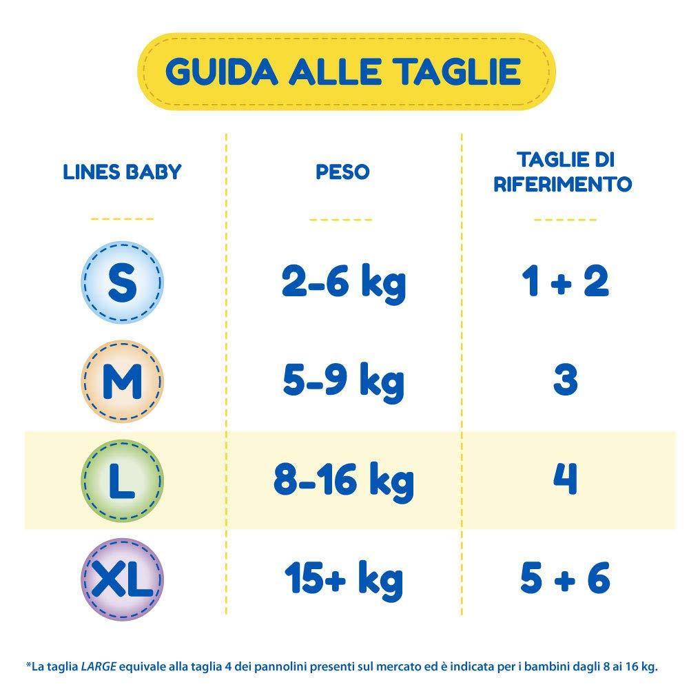 Taglia 4 Confezione da 54 Pannolini Lines Baby Large 8-16 Kg
