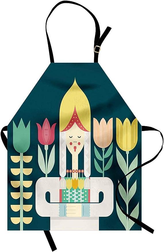 Girl Apron Unisex Kitchen Bib with Adjustable Neck for Cooking Gardening Baking