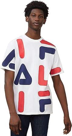 Fila Hombre Camiseta con Estampado AOP de Bennet, Blanco: Amazon.es: Ropa y accesorios