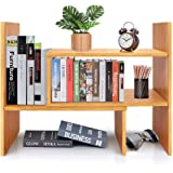 Desktop Bookshelf Adjustable Wood Display Shelf Bookcase Office Supplies Desk Organizer Storage Rack | Birthday Gifts - Toy -