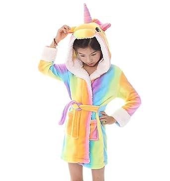 01c0000a4be42 Kid Robes for Girls,Unicorn Costume Flanne Hooded Bathrobes Soft Unicorn  Hooded Bathrobe Sleepwear -