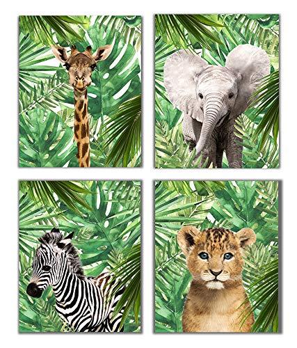 Safari Baby Animals Nursery Decor Art - Set of 4 UNFRAMED Wall Prints 8x10 (Option 3)
