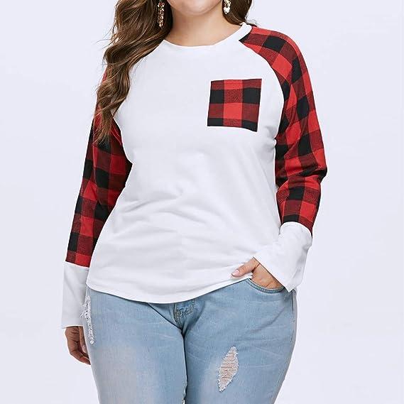 ❤ Camisa a Cuadros de Las Mujeres, otoño Invierno Casual Plus Size Manga Larga O Cuello a Cuadros Bolsillos Camiseta Top Blusa Absolute: Amazon.es: Ropa ...