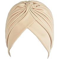 Women's Pleated Head Wrap Knit Bonnet Turban/Pleated Stretchable Polyester Women's Turban Head Cover/Sun Cap
