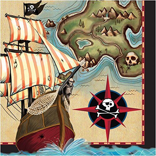 Creative Converting 16 Count Pirate's Map Lunch Napkins, Brown/Green