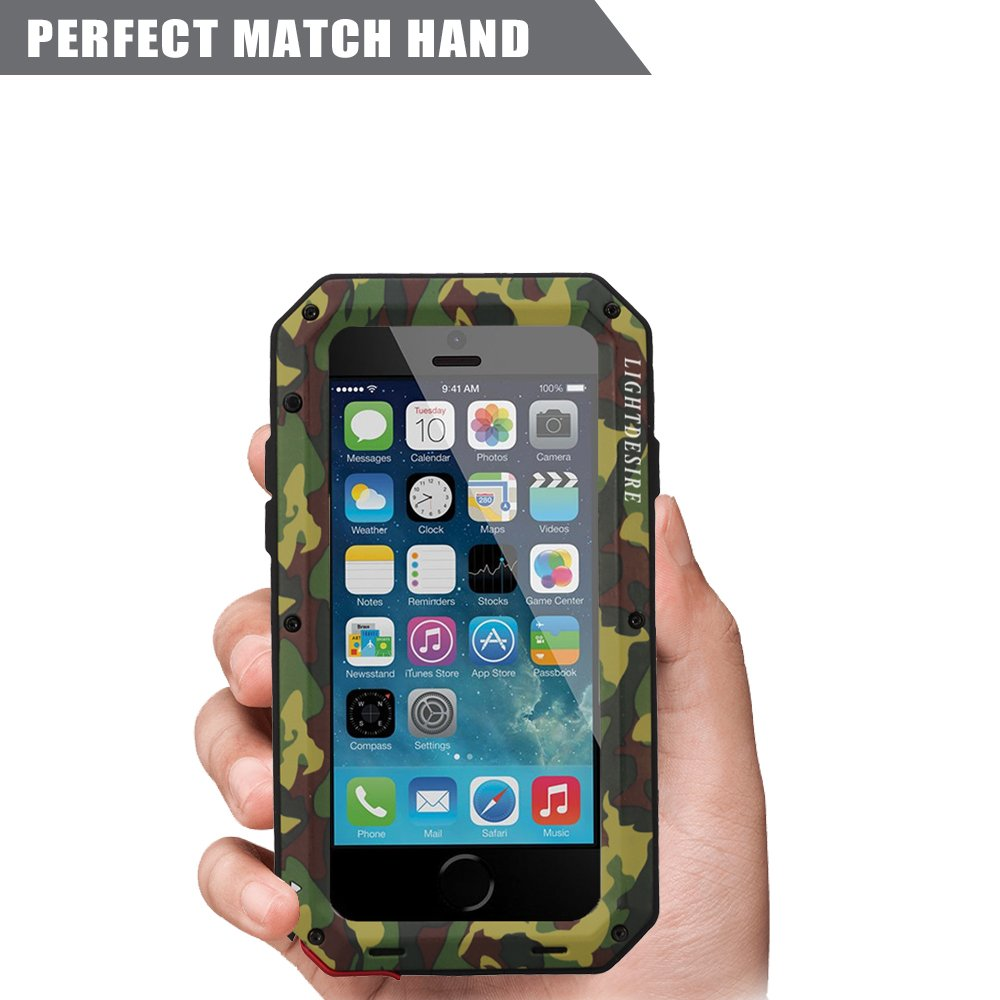 iPhone 5SE Case LIGHTDESIRE [Newest] Aluminum Alloy Protective Metal Extreme Water Resistant Shockproof Military Bumper Heavy Duty Cover Shell for iPhone ...
