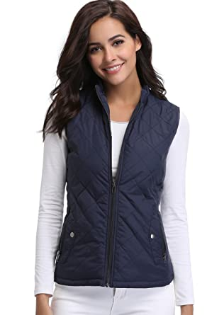 3d544d4a4c854 Lightweight Quilted Vest for Women Zip up Stand Collar Padded Gilet  Sleeveless Jackets with Zipper Pockets
