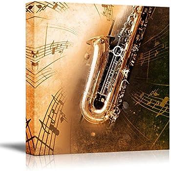 Amazon.com: Wall26 - Canvas Prints Wall Art - Retro Sax with Old ...