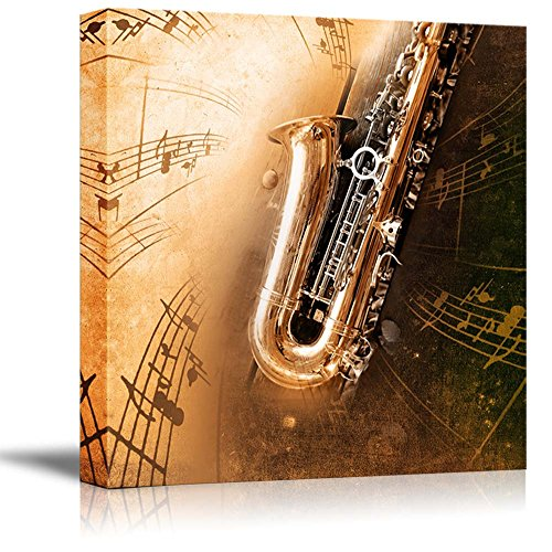 Retro Sax with Old Yellowed Texture Background (saxophone) Wall Decor ation