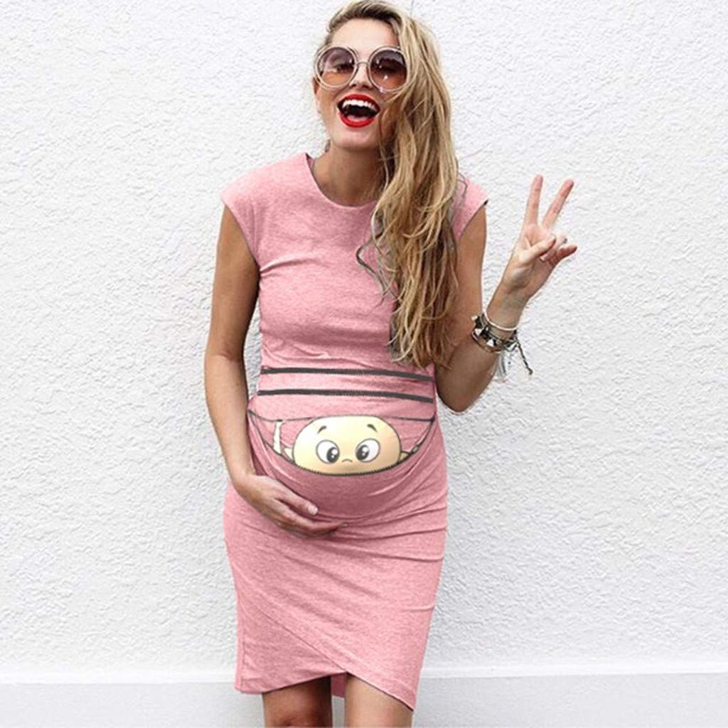 Siswong Womens Maternity Bodycon Round Neck Cute Humor Print Summer Cocktail Dress Sleeveless