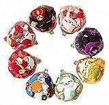 : POJ Japanese Style Coin Purse (Gamaguchi) [Green / Yellow / Pink / Blue ] Lucky Cat (Manekineko) Pattern Design Cosplay Goods