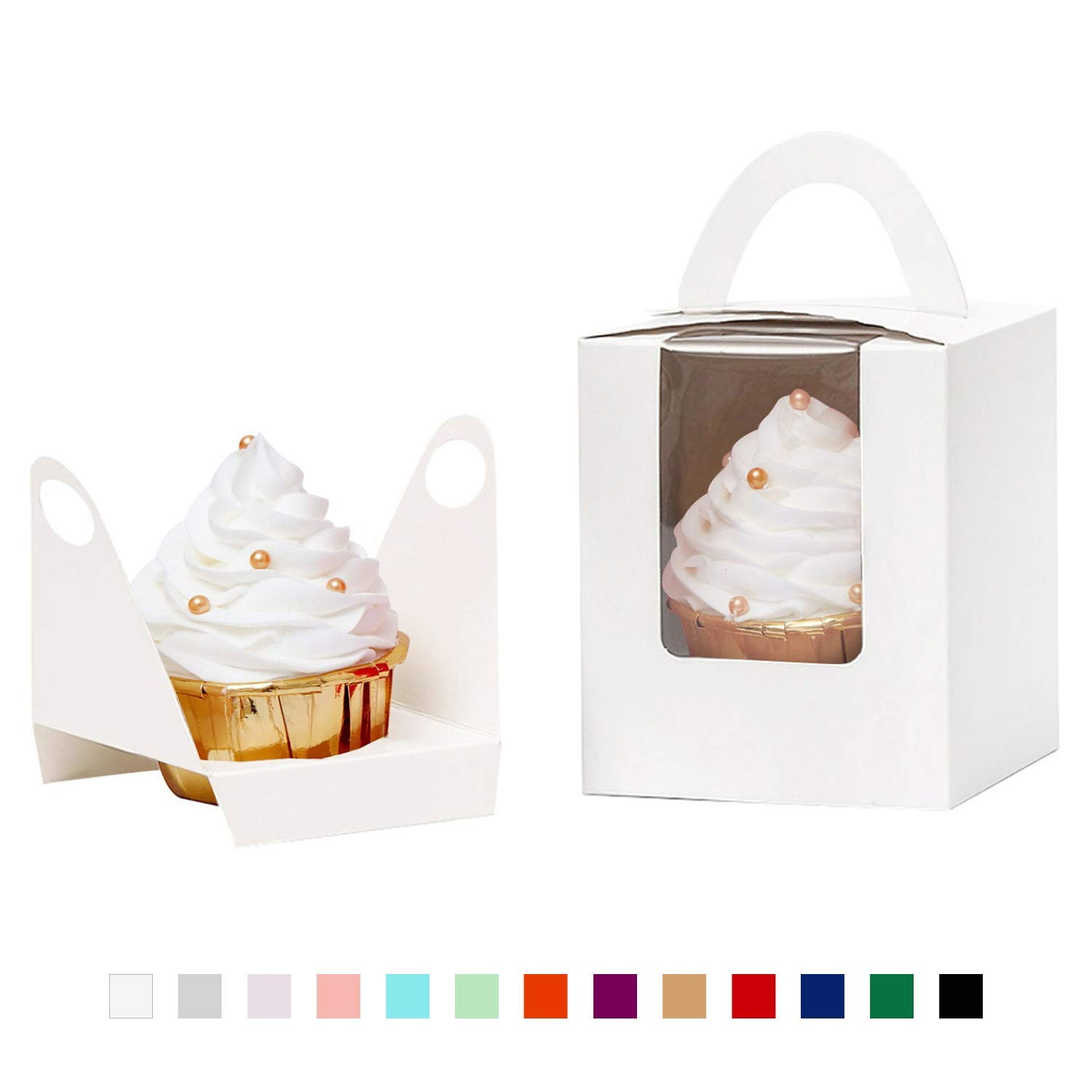 YoTruth White Cupcake Boxes Single 50 Count with Clear Window Inserts Handle for Wedding Cupcake Favor Boxes Easy Assembly