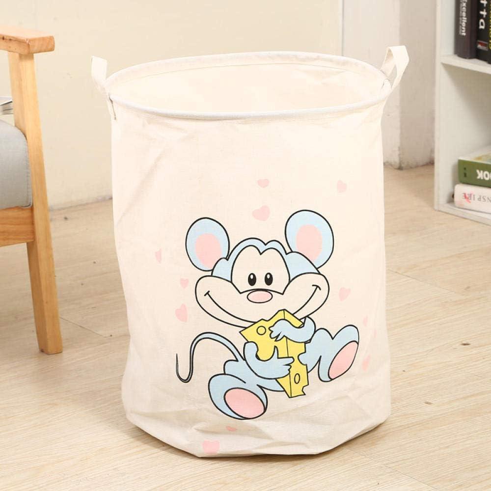 BASKET Laundry Baskets,Cartoon Rat Laundry Basket Picnic Basket Stand Storage Box Super Large Bag Cotton Washing Dirty Clothes Big Basket Organizer Bin Handle