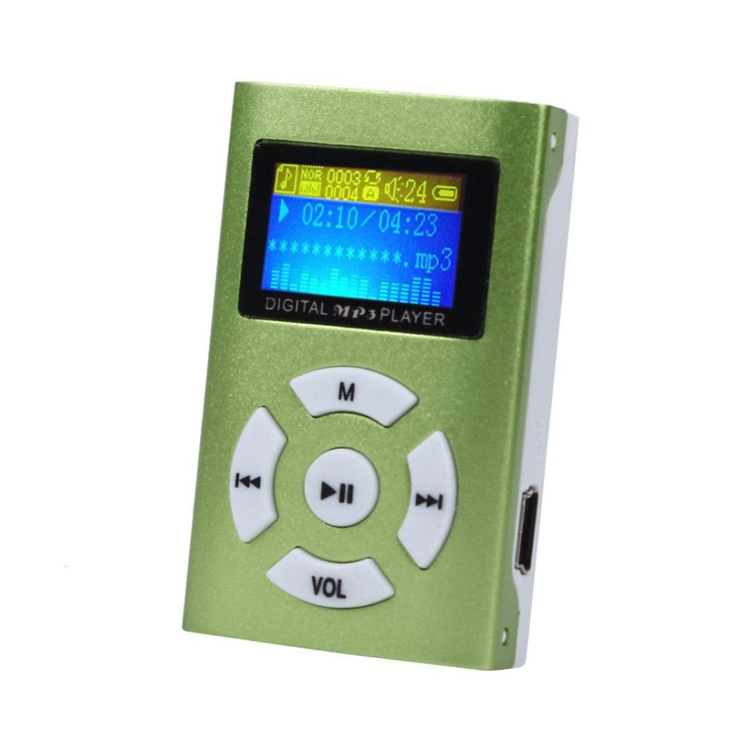 Bolayu USB Mini LCD Screen MP3 Player Support 32GB Micro SD TF Card (Green)