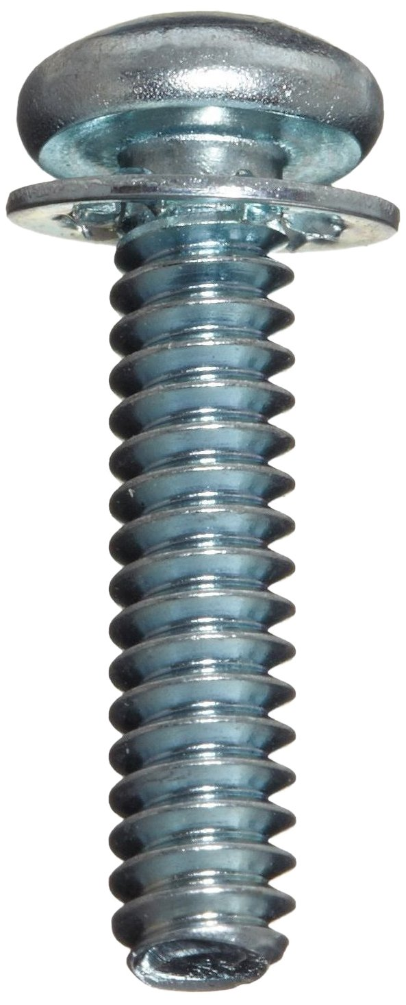 Zinc Plated Finish Steel Machine Screw Phillips Drive 1 Length Pack of 100 Fully Threaded Internal-Tooth Lock Washer Pan Head #6-32 UNC Threads Meets ASME B18.13