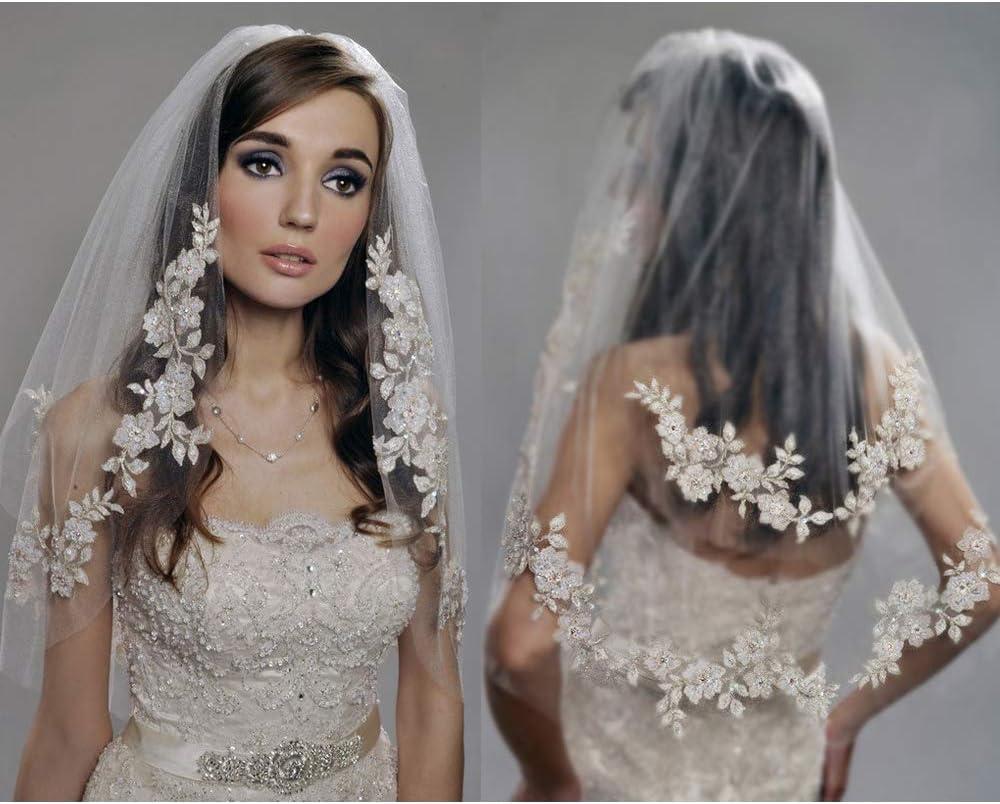 Women Floral Creamy white Bride Hen/'s Night Prop Wedding Hair head Veil No COMB