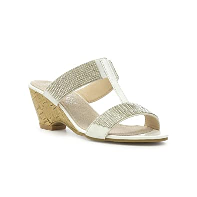 055efaaa7a9 Lilley Womens White Diamante Wedge Sandal  Amazon.co.uk  Shoes   Bags