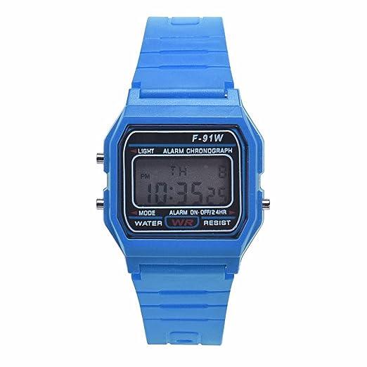 Reloj Digital para niño Moda Hombre niña LED Digital Redondo de Goma de Cuarzo Deporte Moda Impermeable Reloj de Pulsera (Azul): Amazon.es: Relojes