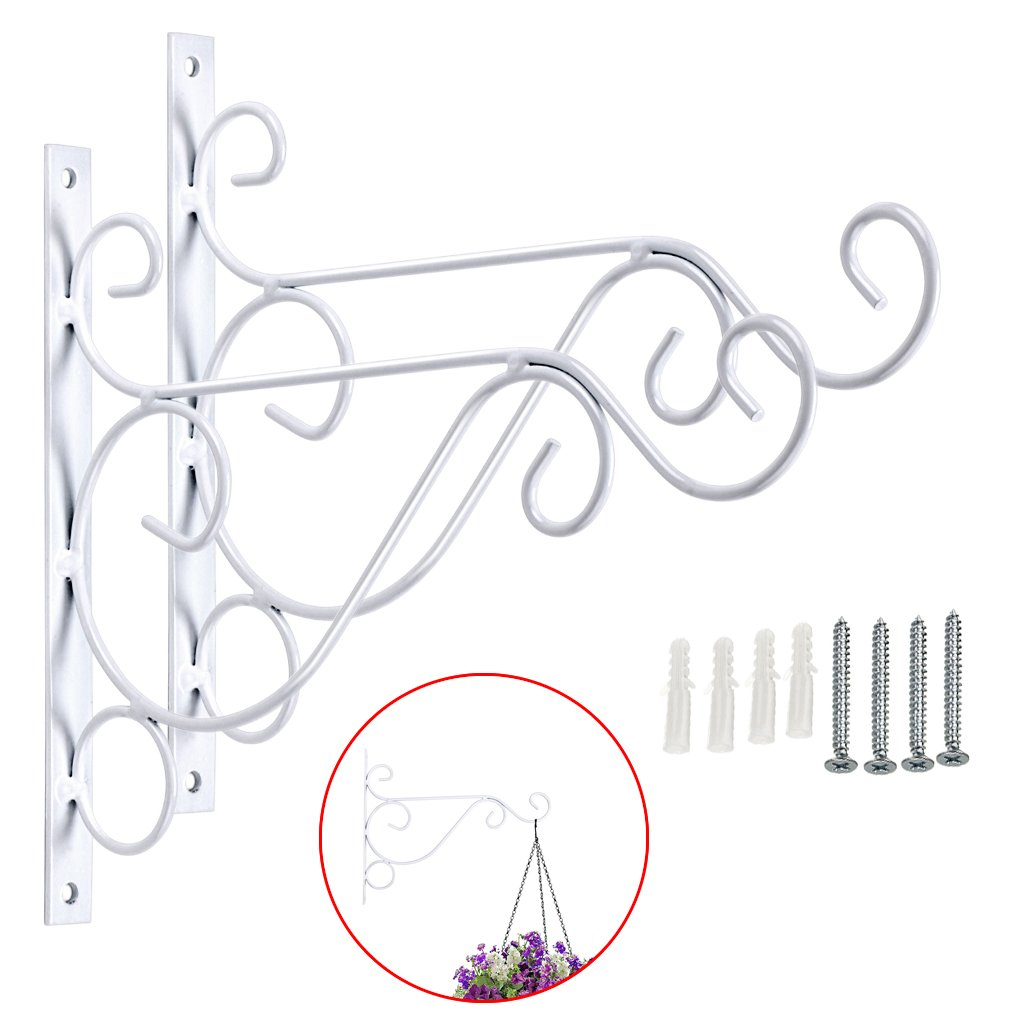 Sumnacon Metal Plant Hanging Bracket Hook - 2 Pcs 10'' Sturdy Wall Plant Hangers Indoor Outdoor Bracket for Hanging Bird Feeders,Lanterns,Planters,Wind Chimes,Ornaments with Screws(White) by Sumnacon