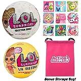 LOL Surprise Dolls Gift Bundle includes (1) Limited Edition Glitter + (1) Series 3 Lil Sister + 9 Shopkins Stickers + BONUS Action Media Storage Bag!