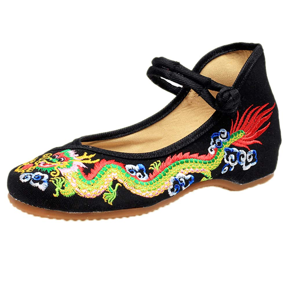 Traditional Dragon Embroidery Flats Single Shoes Fashion Woman Embroidered Dance Shoes Chinese Antiquity Girl Getting Married Shoes by Elaiya