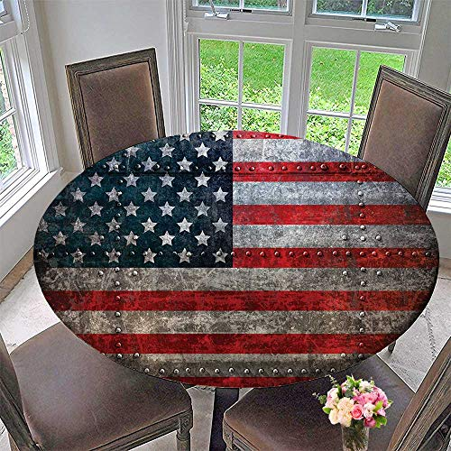 Mikihome Simple Modern Round Table Cloth Royalty Flag Textured US Backdrop Damaged Metallic Board Plate 43.5