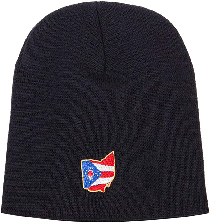 Navy blue Ohio state beanie with embroidered flag