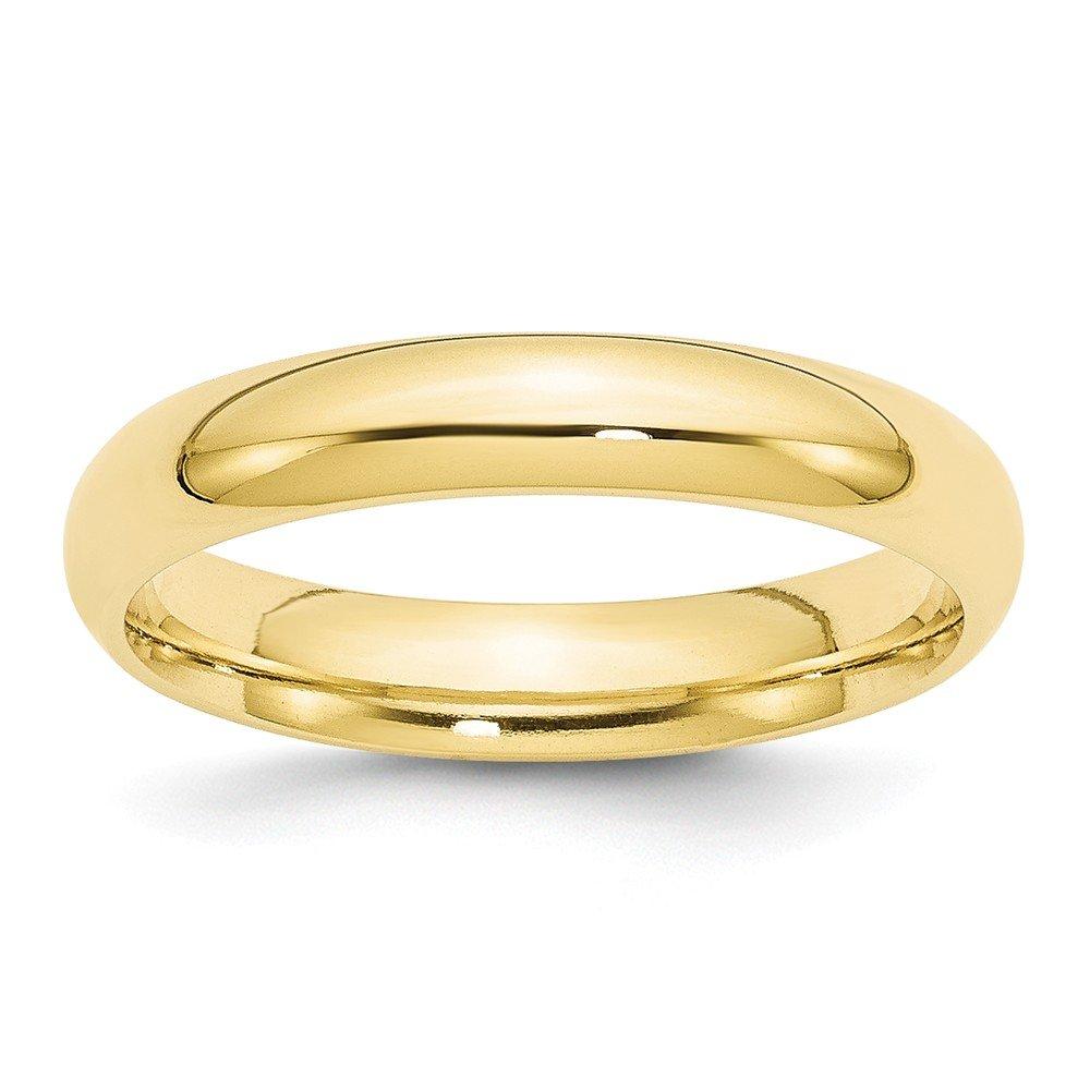 Jewel Tie 10k Yellow Gold 4mm Standard Comfort Fit Wedding Band