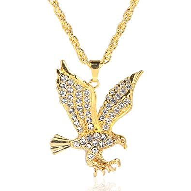 1abcaefe5f3 YEYULIN Eagle Gold Plated Men Hip Hop Rapper Bling Necklaces Rhinestone  Pendant Chain Necklace 28