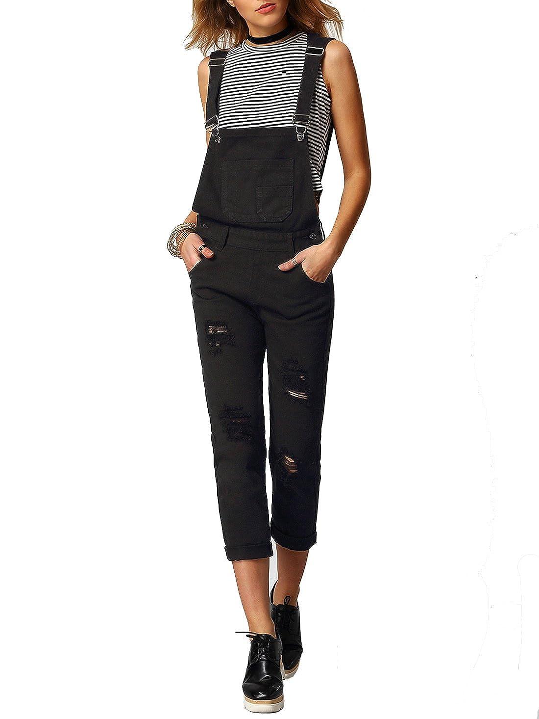 Verdusa Women's Classic Denim Bib Strap Ripped Pocket Overall