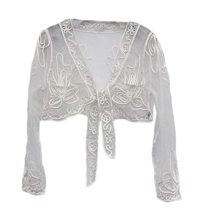 HaiDean Cardigan Mujer Elegantes Moda Pin-Up Slim Fit Blanco Corto Abrigos Encaje Transparentes Modernas Casual Manga Larga Cóctel Abrigos Outerwear (Color ...