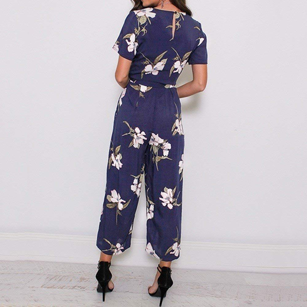 6a47967be0 Amazon.com  Womens Long Floral Print Jumpsuits V Neck Short Sleeve Casual  Wide Leg Rompers by (Navy