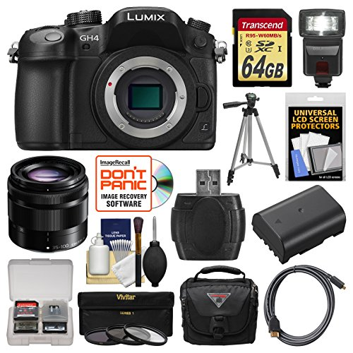 Panasonic-Lumix-DMC-GH4-4K-Micro-Four-Thirds-Digital-Camera-Body-with-35-100mm-Lens-64GB-Card-Case-Flash-Battery-Tripod-Filters-Kit