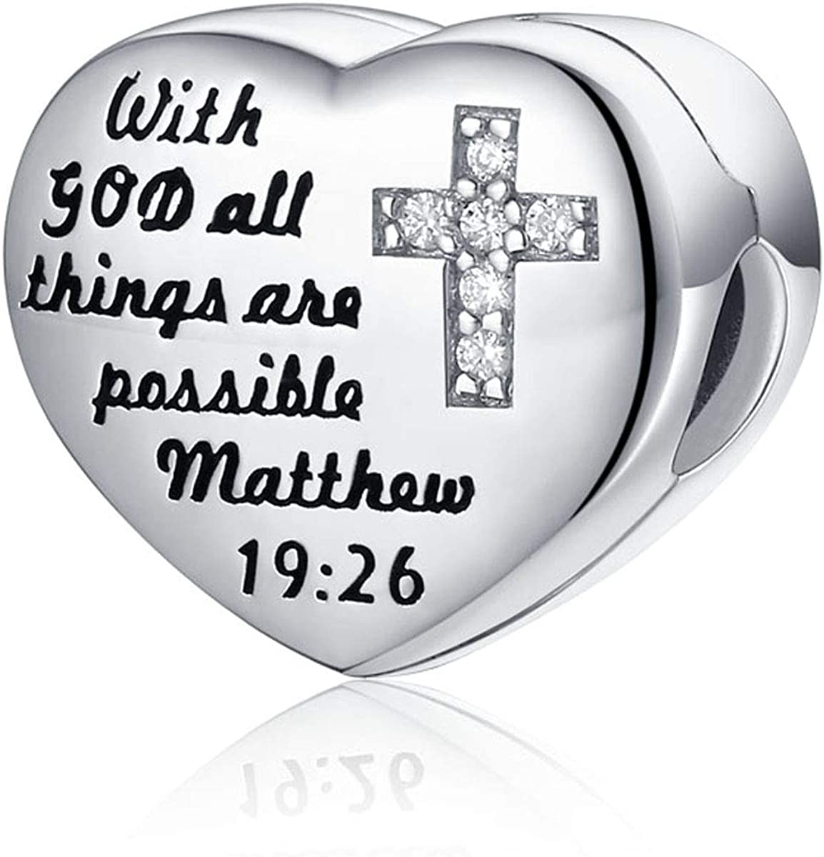 FOREVER QUEEN 925 Sterling Silver CZ Cross Heart Charms with God All Things are Possible Charms Clip Lock Stopper Bead Fit Bracelets,Xmas Gifts for Women