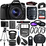 Canon EOS 80D DSLR Camera with EF-S 18-55mm f/3.5-5.6 IS STM Lens & Sandisk 32GB Memory Card, Digital Slave Flash, Pro Tripod - Accessory Bundle (Certified Refurbished)