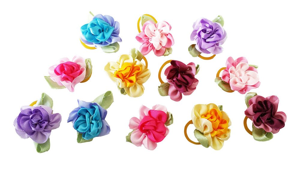 PET SHOW Flowers Pet Dog Hair Bows W/Rubber Bands Cat Puppy Grooming Accessories Assorted Color Pack of 100