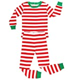 Elowel Striped 2 Piece Pajama Set Red & White 12-18