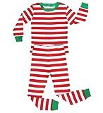 """Elowel Pigiama da bimba bambini unisex ragazzi ragazze,100% cotone, due pezzi """"Natale a righe"""" (dai 6 M-14 Anni)"""