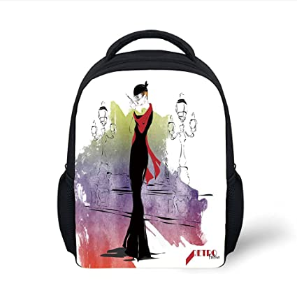 492e68d3044c Amazon.com: iPrint Kids School Backpack Fashion House Decor,Girl ...