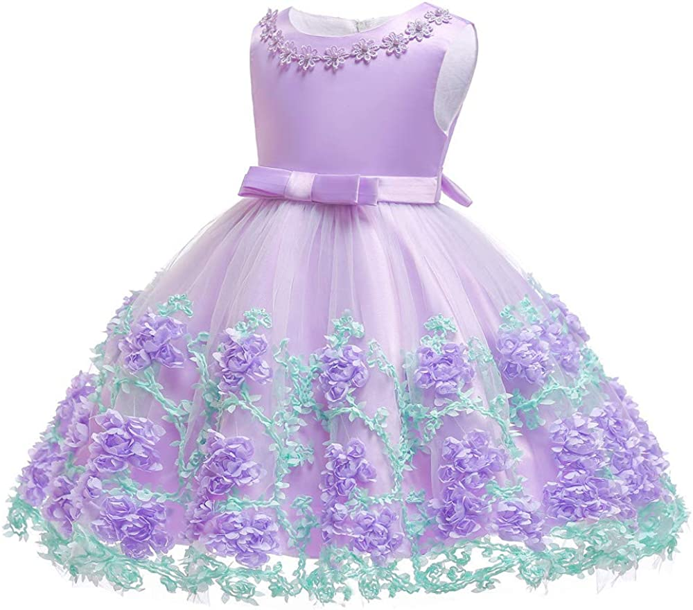 KILO/&METERS Embroidery 3D Flower Girl Dress Tulle Lace Formal Party Baby Dress 3M-9T